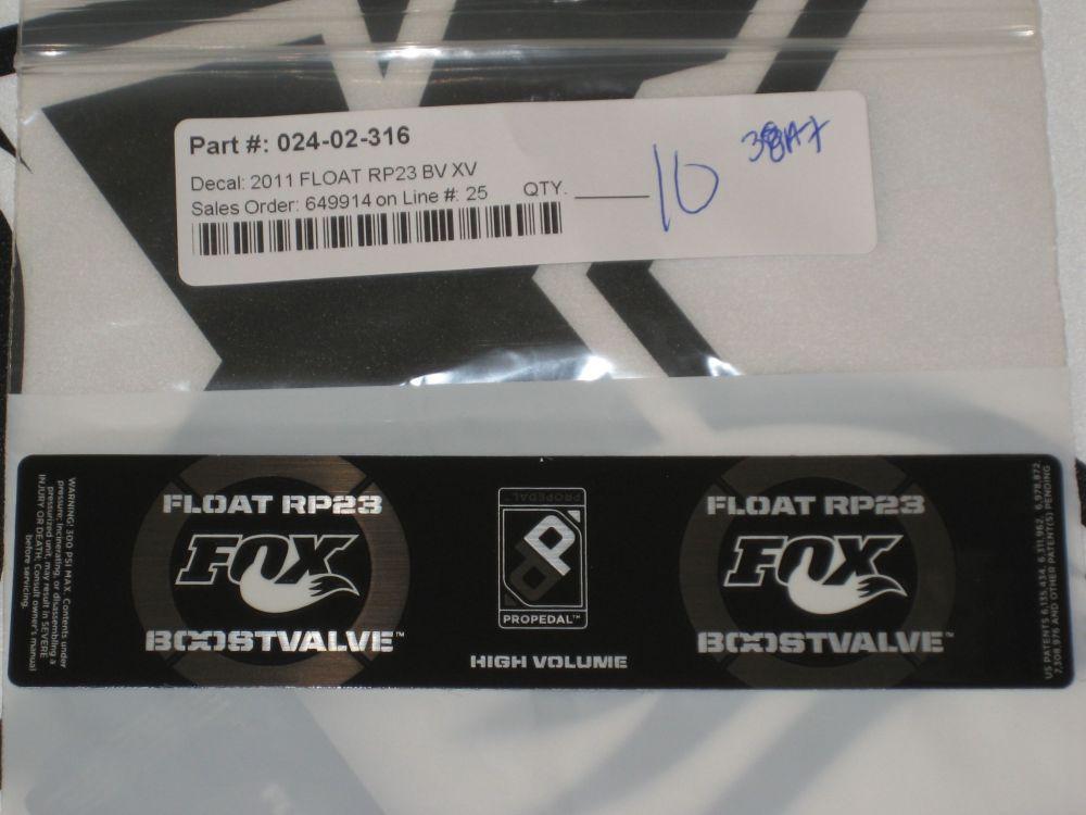 Decal: 2011 Float RP23 BV XV