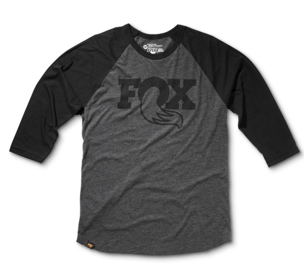 2017, FOX 3/4 Raglan, 50% Cotton, 50% Poly, Heather Black/Black, versch. Grössen