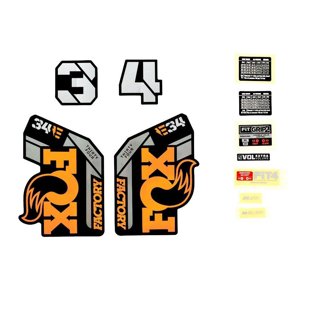 Decal Kit: 2021 34 E-BIKE+ F-S Orange Logo Shiny Black Fork