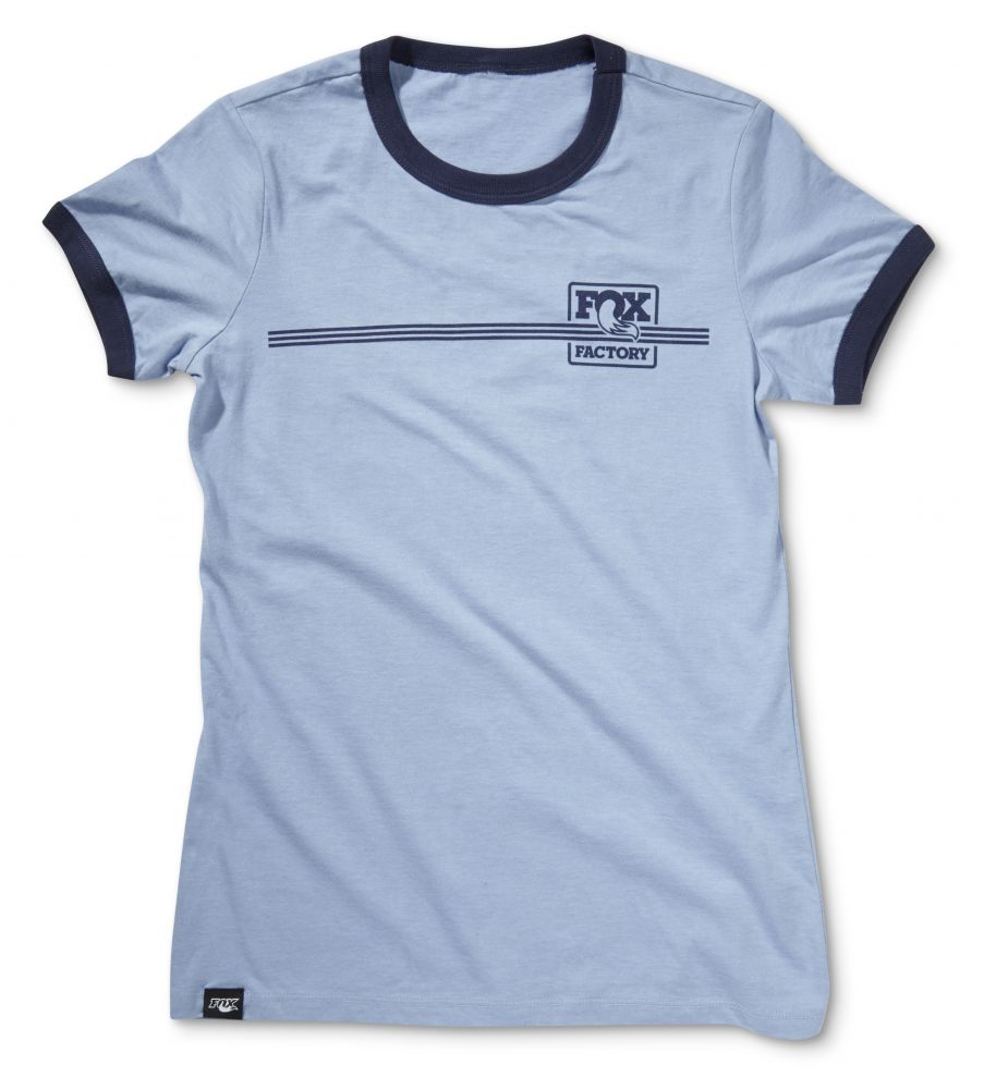 2016 FOX Women''s Heritage Ringer Tee 52% Cotton/48% Poly Heather Blue/Navy S