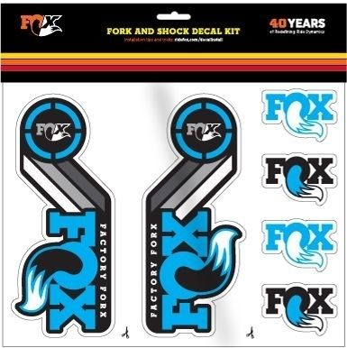 FOX Decal 2015 AM Heritage, Fork and Shock Kit, Cyan Blue