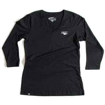 Women''s Track 3/4 Sleeve V-Neck 100% Cotton Blac L