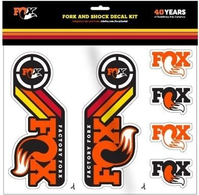 FOX Decal 2015 AM Heritage, Fork and Shock Kit, Orange Rainbow