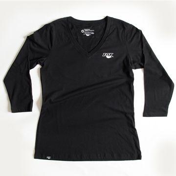 Women''s Track 3/4 Sleeve V-Neck 100% Cotton Blac M