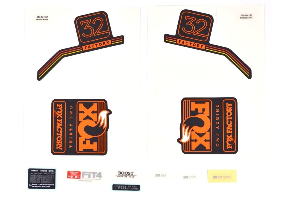 Decal Kit: 2018 32 F-S Orange Logo Matte Black Background