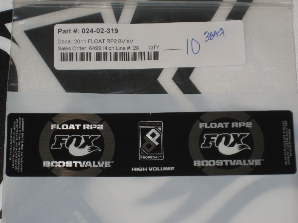 Decal: 2011 Float RP2 BV XV